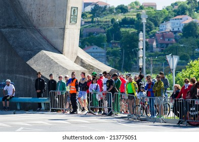 PONTEVEDRA, SPAIN - MAY 31, 2014: Detail of the audience at the Duathlon World Championships in the Junior Men's category, on the streets of the city.