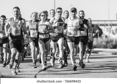 PONTEVEDRA, SPAIN - OCTOBER 22, 2017: Athletes running in the half marathon city of Pontevedra celebrated by the streets of the city.