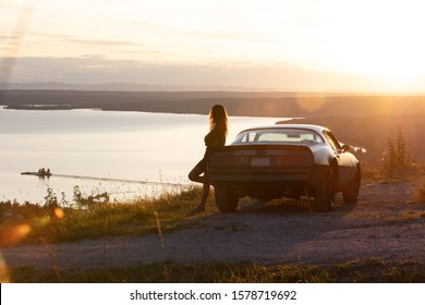 Pontiac Firebird in sunset in Dalarna