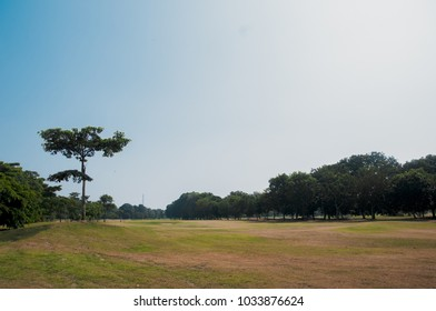 PONTIAN, MALAYSIA - FEBRUARY 17,2018 : Scenery of golf course at Kukup Golf Resort with beautiful view.