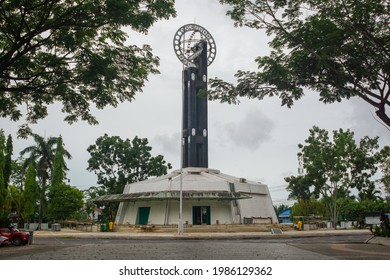 Pontianak, Indonesia - 5 June 2021: The equator monument as a sign of latitude O degrees in the city of Pontianak.