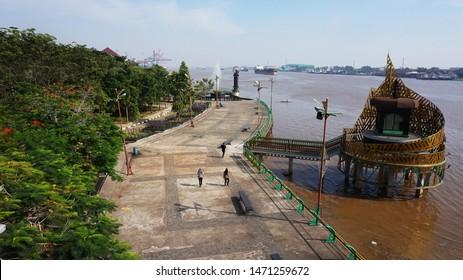 Pontianak, Indonesia - August 5, 2019: Alun Kapuas Park, Tourism Destination on Pontianak City, West Borneo.