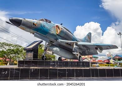 PONTIANAK, INDONESIA - DECEMBER 17, 2020 : An Indonesian Air Force A-4 Skyhawk monument at Pontianak Supadio Airport, Indonesia.
