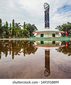 Pontianak, Indonesia : Khatulistiwa (equator) tower, a landmark of Pontianak City, capital city of West Kalimantan province, a city that crossed by equator line (08/2019).