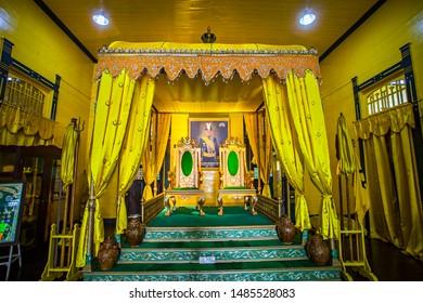 Pontianak, Indonesia : The Throne of Kadriah Palace (Istana Kadrriah), a heritage and histoical building, royal palace of Pontianak Kindom, a popular tourist destination in Pontianak (08/2019).