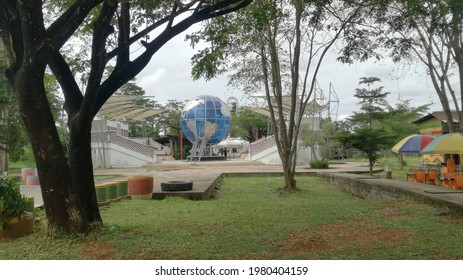 Pontianak, Indonesia-26 May  2021: park at the equator monument pontianak