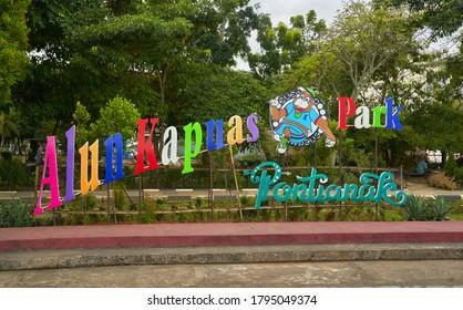 Pontianak, West Kalimantan, Borneo, Indonesia 13.08.2020: alan Kapuas park logo in Pontianak riverfront