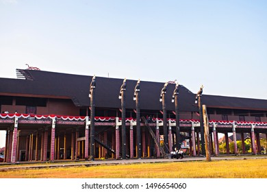 Pontianak, West Kalimantan, Indonesia : The long house, traditional house of dayak tribe from Kalimantan, Indonesia (08/2019).