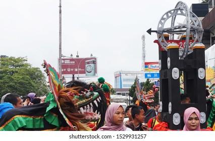 Pontianak, West Kalimantan / Indonesia - October 13 2019: Pontianak Culture Festival Parade in Pontianak Anniversary Event on Gajah Mada Street