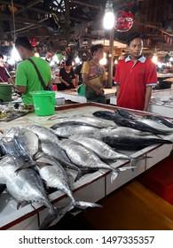 Pontianak, West Kalimantan/Indonesia - February 24th, 2018: Fish seller and buyers at Flamboyan market, Pontianak, West Kalimantan-Indonesia