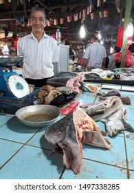 Pontianak, West Kalimantan/Indonesia - February 24th, 2018: Fish seller at Flamboyan market, Pontianak, West Kalimantan-Indonesia
