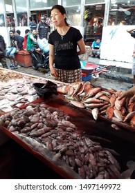 Pontianak, West Kalimantan/Indonesia - February 26th, 2018: Fish seller at Flamboyan market, Pontianak, West Kalimantan - Indonesia