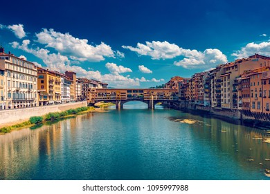 Ponto Vecchio bridge in Florence, Italy, at summer, toned image