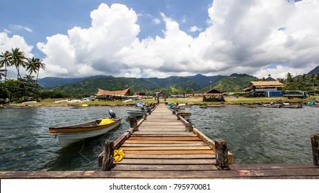 Pontoon and boats in Alotau, Papua New Guinea