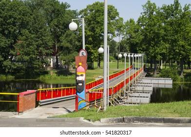 a pontoon bridge across the river