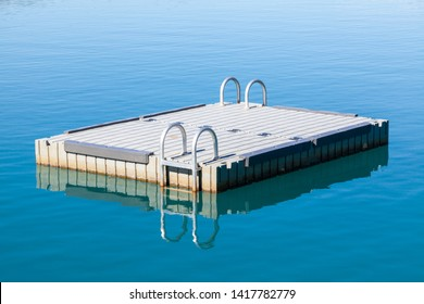 Pontoon / Floating Platform on Lake Wakatipu as seen from Glenorchy Wharf / Pier, near Queenstown, Otago in New Zealand's South Island. A very popular beautiful, scenic tourist attraction.