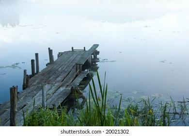 pontoon in a fog