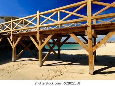 PONTOON ON THE BEACH SANTA MARIA AT SUNSET , SAL ISLAND, CAPE VERDE