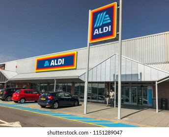 PONTYPRIDD, WALES - AUGUST 2018: Exterior view of new signs outside a branch of the ALDI supermarket chain