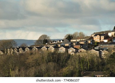 Pontypridd, Wales - December 2017: View of a private housing estate located on a hillside above the town