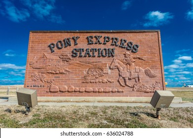 Pony Express Sign, Hollenberg Ranch, Off Route 36, Nebraska marks the spot in 1860/61 that Pony Express functioned