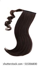 Pony tail dark brown hair piece on background