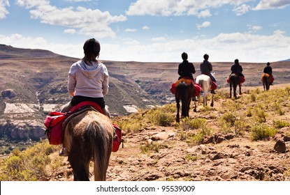 Pony trail adventure in the mountains of africa