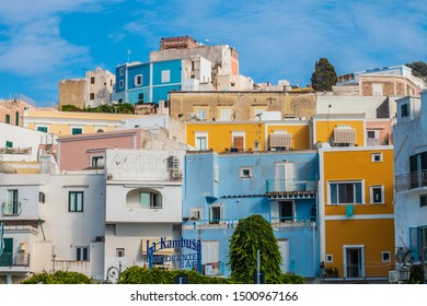 Ponza Island, Italy - 27 July 2019: View of little harbor of Ponza island in the summer season with typical colored houses and boats. Ponza, Italy