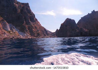 Ponza Island, Italy - August 2019:  Beautiful face of the Ponza Island seen from the crystal clear blu and from the boat. Italy