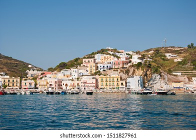 Ponza Island (Italy) in the summer. The islands of central Italy in Mediterranean sea. Landscape on the island of Ponza. Port of the island of Ponza. The typical colored houses of the island of Ponza.