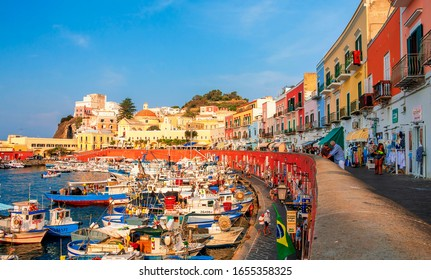 PONZA, ITALY - AUGUST 31, 2019: View of the harbor and port at Ponza, Lazio, Italy. Ponza is the largest island of the Italian Pontine Islands archipelago.