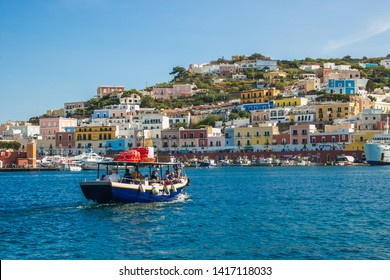 PONZA, ITALY - SEPTEMBER 16, 2018: Summer view of little boat with tourist in the Ponza island, Lazio, Italy