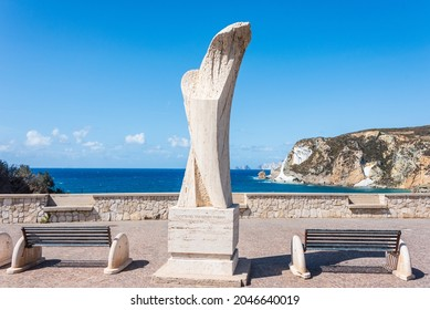 Ponza, Lazio, Italy - September 18 2021: The view point over the Chiaia di Luna beach in the Ponza island, Lazio, Italy. The beach is closed to tourists, due to falling stones and rocks.