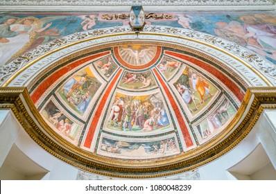The Ponzetti Chapel by Baldassarre Peruzzi in the Church of Santa Maria della Pace in Rome, Italy. April-10-2018