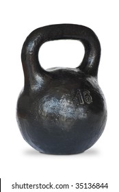 A pood kettlebell. Isolated on white background with clipping path.