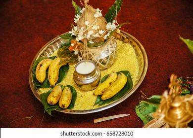 Pooja Praying Tray. Hindu Tamil Traditional Wedding Rituals