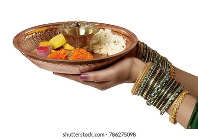 Pooja Thali in Hand