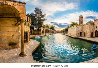 The pool of Abraham, known as Balikli Göl in Turkish. pool is believed by Muslims to be the place where Abraham was thrown into the fire by Nimrod.