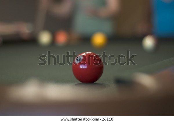 A pool ball with shallow depth of field