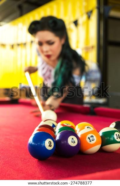 Pool Balls Girl Play Pool Billards Stock Photo (Edit Now