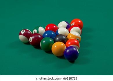 Pool balls set up for beginning