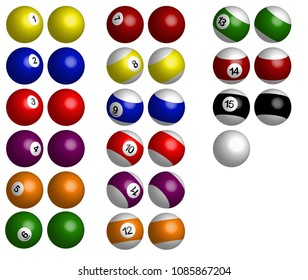 Pool balls or Snooker balls isolated on a white background.