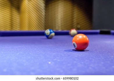 Pool billiard game. Detail of balls on pool billiard table. American sport game with balls and cue