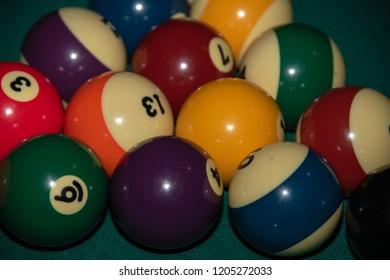 Pool billiard old eight balls table close up