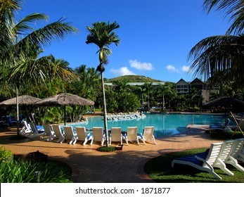 Pool and blue sky (Resort at Fiji)
