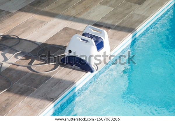 Pool Cleaner Robot Cleaning Swimming Pool Stock Image ...