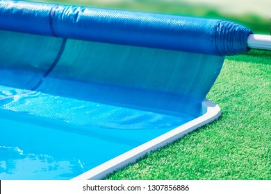 Pool cover roller, selective focus.