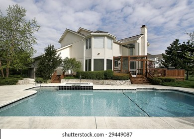 Pool and deck of large home