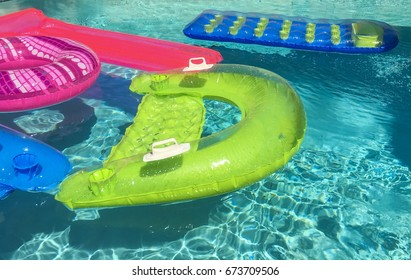 Pool floats in pool water.