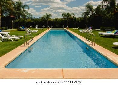 Pool and hammocks in a Mediterranean resort